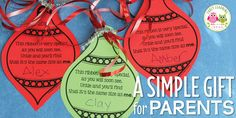 Make a simple parent gift with you classroom. Use this free printable Christmas ornament to make a meaningful Christmas gift for kids to give to parents. Printable Christmas Ornaments, Free Christmas Printables, Christmas Ornaments To Make, Christmas Fun, Christmas Gingerbread, Christmas Books, Meaningful Christmas Gifts, Christmas Gifts For Parents, Holiday Gifts