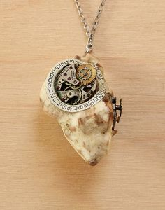 Steampunk necklace, seashell pendant, steampunk jewelry - shell, watch gears, natural materials - Col.1, Necklace 8