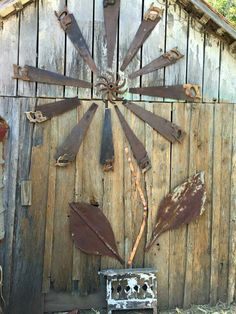 Rusty saws repurposed--- could also use old fan blades