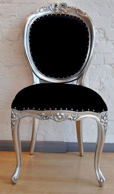 black tufted upholstered bed silver leaf | The Versailles Diner Chair - Silver Leaf & Matt Black