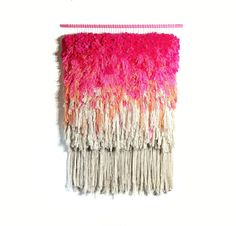 Furry Electric Wonderful Cherry Fields //  Handwoven Tapestry Wall hanging Weaving Fiber Textile Wall Art Woven Home Decor Jujujust