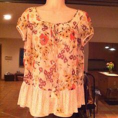 Sheer flower printed fabric blouson Sheer cream with orange/brown flowers & polka dots trim- tie @ neckline jovovich-hawk Tops