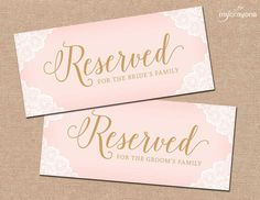 Printable Wedding Reserved Chair Sign by MyCrayonsPapeterie // Reserved for family signs in blush pink and gold