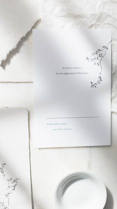 Fine art handmade paper wedding invitation suite with charcoal vine illustration, acrylic white paint, calligraphy names, and mixed media paper, crinkled vellum, modern, ethereal, minimalist style - Gatherie Creative