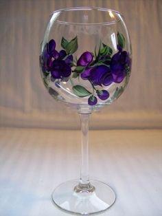Purple Rosebud Wine Glass by Morningglories1 on Etsy,