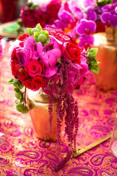 Indian inspired Fuchsia floral centerpiece. Wildflower_Linen_Divine_Affairs_Karl_Ko_Photography