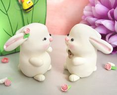 Cute Bunnies wedding cake toppers  Personalized  by PassionArte
