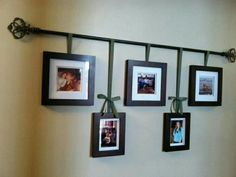 My version of a curtain rod photo hanger. Perfect for our long hallway ! My version of a curtain rod photo hanger. Perfect for our long hallway ! Wedding room decoration p Decor, Hallway Decorating, Interior, Living Room Decor, Home Decor, Hallway Wall Decor, Metal Tree Wall Art, Picture Hanging, Living Decor