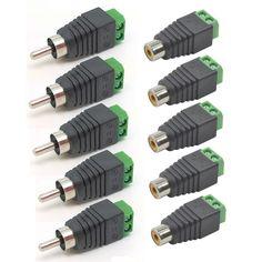 10 unids de alta calidad cable de altavoz cable de audio rca macho + hembra conector adaptador de enchufe de gato profesional