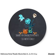 Halloween Party Thanks Ghosts Bats Skulls & Candy sticker