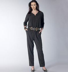 A relaxed jumpsuit to live in, from Vogue Patterns. Sew V1483, Misses' Raglan-Sleeve Jumpsuit and Romper