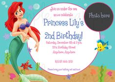 Birthday. Stunning Little Mermaid Birthday Party Invitation Template Design with Personalized Photo Ideas.