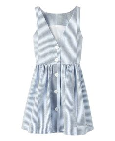 Striped Buttoned V-neck Sleeveless Dress | BlackFive