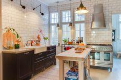 White Subway Tile & grey grout kitchen.