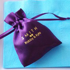 personalized satin favor bag