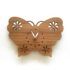 Clock for girls room  Butterfly Clock  Modern elegant by decoylab, $70.00