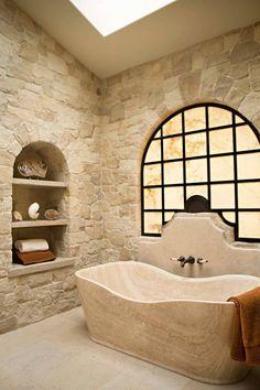 A new collection of interior designs featuring 20 Enchanting Mediterranean Bathroom Designs You Must See. Tuscan Bathroom, Mediterranean Bathroom, Mediterranean Decor, Simple Bathroom, Modern Bathroom Design, Bathroom Interior, Bathroom Designs, Bathroom Ideas, Bathroom Furniture