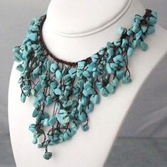 Handmade Reconstructed Turquoise V-Shape Waterfall Bib Necklace (Thailand) | Overstock.com Shopping - Great Deals on Necklaces