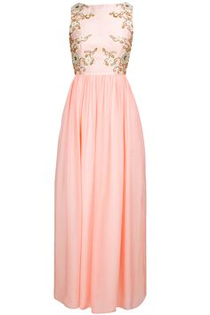 Blush zardosi and pearl embroidered maxi dress available only at Pernia's Pop-Up Shop.