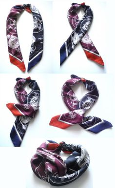 : Double Gavroche twist knot tutorial. This is Grace Kelly's trick to combine two different colored small scarves. Tutorial