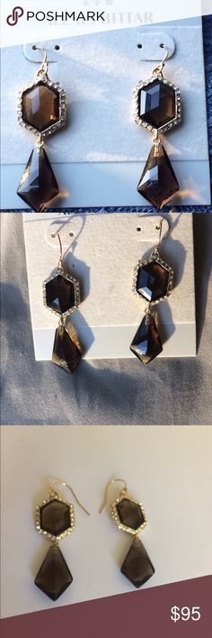 🍂 Alexis Bittar smoky topaz earrings 🍂 NWT Alexis Bittar pave smoky topaz drop earrings with hexagonal and diamond shapes. Very sparkly especially in this late day sun. 2.25 inch length. Small rubber backs. Alexis Bittar Jewelry Earrings