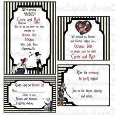 nightmare before christmas wedding invitation set jack and sally invitation reply card reception - Nightmare Before Christmas Wedding Invitations