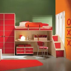 Bedroom Decorations ~ Wonderful Boys Room Ideas Inspiration Design: Cute Red Rugs On White Ceramic Tiles Installation Also Cool Custom Study...