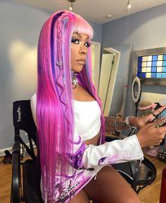 Pink Hair, Neon Hair, Black Girls Hairstyles, Pretty Hairstyles, Hair Inspo, Hair Inspiration, Weave Hairstyles, Straight Hairstyles, Dyed Hair