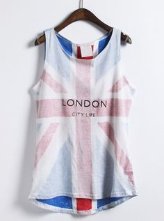 White Sleeveless Union Jack Print Vest