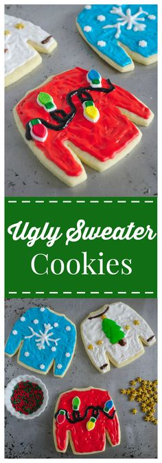 Ugly Christmas Sweater Cookies – An adorable addition to any Christmas party! Cut-out sugar cookies decorated to look like ugly sweaters! #christmas #ugly #sweater #cookies #holiday