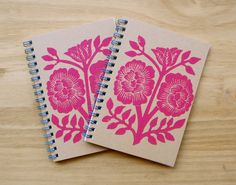 Set of Two Block Printed Notebooks via Etsy.