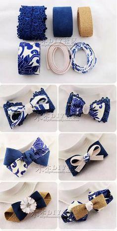Fabric Hair Bows, Ribbon Hair Bows, Diy Hair Bows, Diy Ribbon, Fabric Flowers, Fabric Bow Tutorial, Hair Bow Tutorial, How To Make Headbands, How To Make Bows