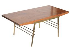 Mid Century Oak Coffee Table with Brass Architectural Base