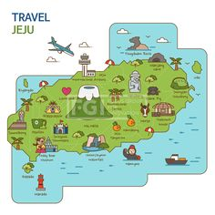 City Tour travel Map Illustration - Jeju Island South Korea Royalty Free Cliparts Vectors And Stock Illustration Image 84866336 Seoul Korea Travel, Korea Map, Island Map, Korean Words, Jeju Island, Learn Korean, Korean Language, Map Design, Travel Maps