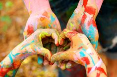 Paint fight with little sister; photo shoot! Love this pic!