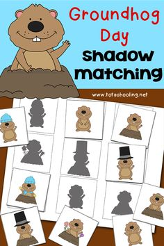 Cute! FREE Groundhog Day Shadow Matching.