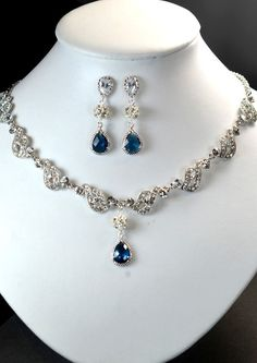 Wedding Jewelry Bridesmaid Gift Bridesmaid Bridal Jewelry navy blue sapphire Pearl Drop Cubic Zirconia Earrings Necklace bracelet on Etsy, Jewelry Sets, Jewelry Necklaces, Fine Jewelry, Bridal Accessories, Wedding Jewelry, Wedding Ring, Jewelry Accessories, Before Wedding, Sapphire Necklace