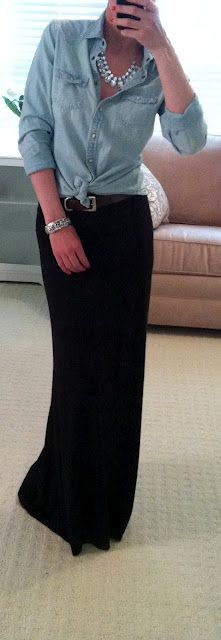 Love the long black skirt and pearls. Maybe not tie the shirt at my age ;) but very cute.