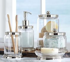 Holden Bath Accessories | Pottery Barn -- Mix these silver topped holden accessories with the glass topped pb classics