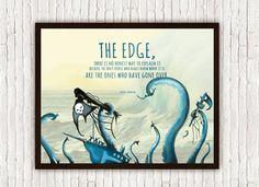 Hunter S. Thompson The Edge Quote Octopus by SargentIllustration, $20.00