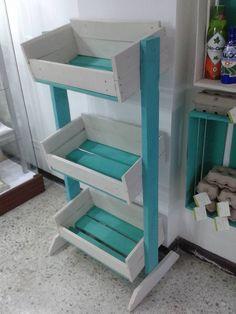 Pallet Storage Rack Good for kids toy storage Pallet Furniture DIY Vegetable Storage Rack, Diy Storage Rack, Pool Storage, Pallet Storage, Storage Ideas, Vegetable Stand, Pallet Shelves, Kids Storage, Cube Storage