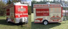 Farmhand Foods' Sausage Wagon is a community engagement tool to spread the word about their company mission, and to provide area food lovers with a taste of their delicious, local, pasture-raised pork and beef. When the Wagon is operating as a food truck, they pair their custom made sausages with fresh baked rolls from Durham, NC -based Guglhupf Bakery, and top them with mouth-watering housemade condiments like pimento cheese & crowd pleasing fennel chow-chow. http://pastureraisedinnc.com