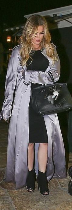 6f2f98876c4 Khloe Kardashian  Key Chain – Fendi Coat – Haider Ackermann Purse – Hermes  Long Grey