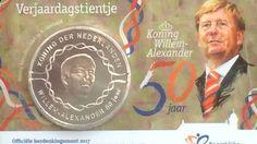 Vandaag werd de koninklijke herdenkingsmunt ter ere van de 50ste verjaardag van koning Willem-Alexander gepresenteerd.