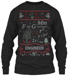 Engineer Ugly Christmas Sweater, Black Long Sleeve T-Shirt Front