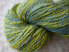 Handspun Yarn Yellow Yarn Blue Yarn Worsted Yarn Wool by AdiRadi