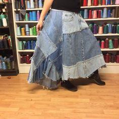 Shades of Blue Jeans Long Denim Patchwork Skirt от sewsomer