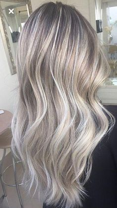 Dimensional Silver Blonde Balayage Long Hairstyle Ideas Ash Blonde Hair with Highlights. Grey Blonde Hair, Silver Blonde, Silver Ash, Platinum Blonde, Silver Ombre, Icy Blonde, Golden Blonde, Ash Grey Hair, Blonde Honey