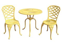 One Kings Lane - Outdoor Brights - Bradford Bistro Set, Canary Yellow