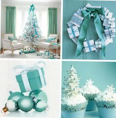 Christmas decorations in blue interior